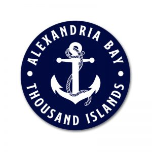 Navy & White Alexandria Bay Thousand Islands Anchor round decal sticker