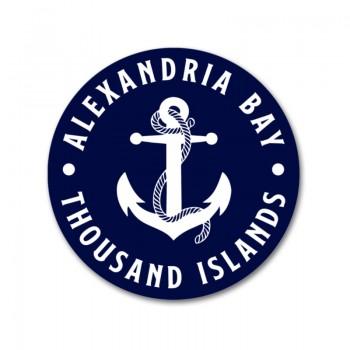 Navy & White Alexandria Bay Thousand Islands Anchor round decal sticker