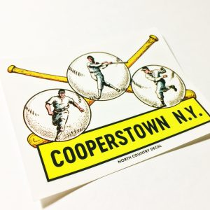Cooperstown New York Classic Baseball decal sticker on clear vinyl